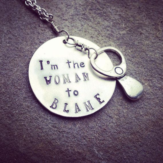 "hand stamped ""I'm the woman to blame"" with small pop top charm, jimmy Buffett inspired necklace  on Etsy, $23.00"