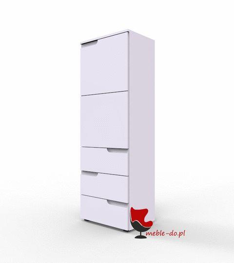 biała szafka komoda regał drzwi szuflady wysoki połysk Selene 11