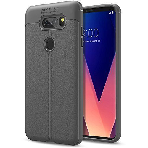 LG V30 Case PU Leather Flexible TPU Gel Bumper Shockproof Protective Cover Gray #LGV30