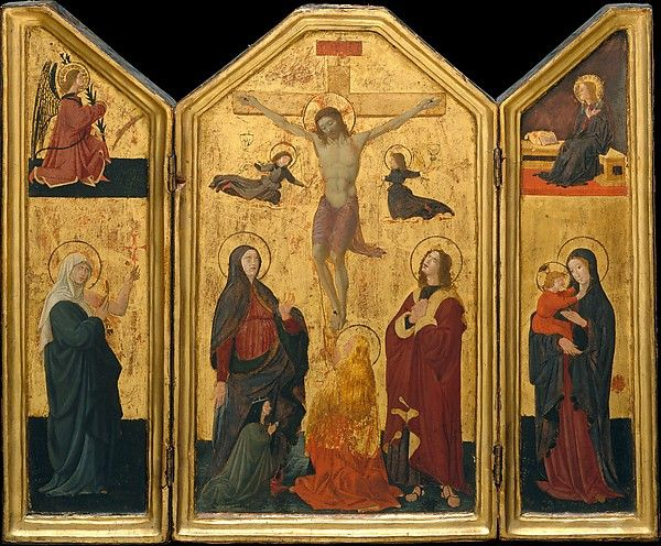 The Crucifixion (triptych) - Paolo Uccello.  Mid 1450s.  Tempera on panel.  Central panel:  41.9 x 24.1 cm.  Each wing:  41.9 x 10.8 cm.  Metropolitan Museum of Art, New York City NY, USA.