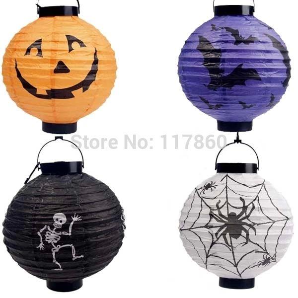 Хэллоуин украшения хэллоуин фонарь из тыквы висит бумажные фонарики портативный ( с батареей, Поставка цвета случайная )