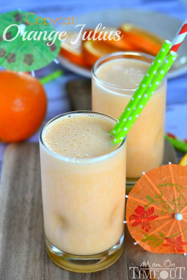 This delicious recipe for a Copycat Orange Julius is sure to become your new favorite drink!   MomOnTimeout.com
