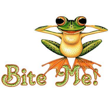 Bite me funny frog