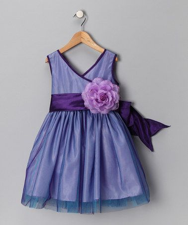 Take a look at this Purple Flower Surplice Dress - Toddler & Girls by Chic Baby on #zulily today!