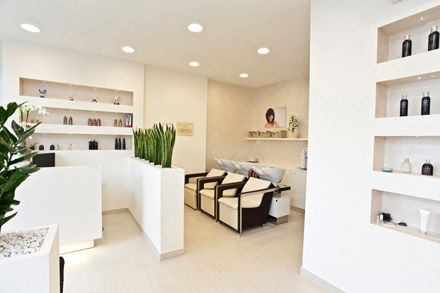 I thought half walls with bamboo to the ceiling could be a great way to break up the space in the nail salon