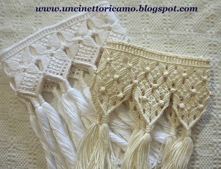 Frange macramè ecru e bianca            Realizzata con filato di lino, quattro fili   ritorti a mano.         Per questa bianca inv...