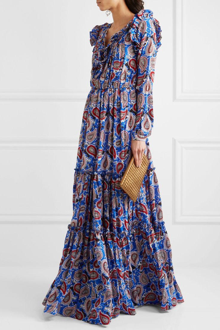 Бар Додо или | Элвис взъерошил пейсли печати шелк-креп макси платье | NET-A-PORTER.COM