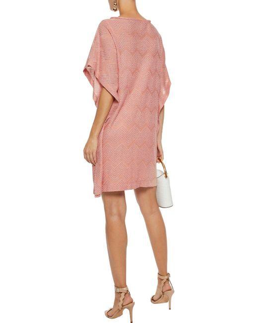 f8090ffba9b1 Women s Woman Draped Metallic Crochet-knit Mini Dress Pastel Pink ...