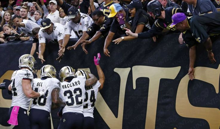 Panthers vs. Saints:      October 16, 2016  -  41-38, Saints  -    New Orleans Saints cornerback Sterling Moore (24) celebrates his interception in the first half of an NFL football game against the Carolina Panthers in New Orleans, Sunday, Oct. 16, 2016.