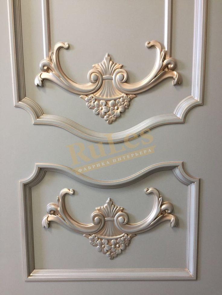 """Элементы двери """"Сорренто"""" в отделке каменно-серая эмаль с позолоченными декорами  #межкомнатные #двери #рулес #интерьер #дизайн"""