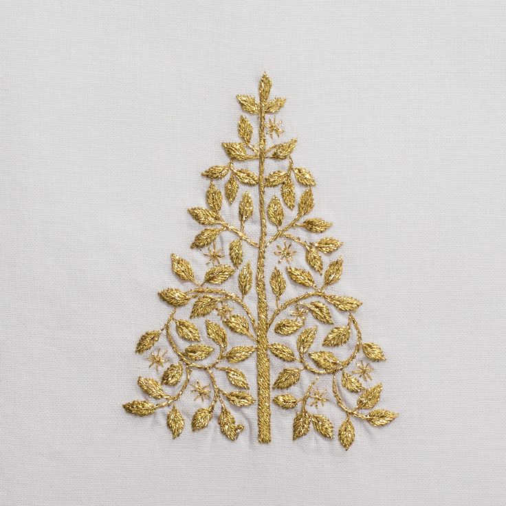 Mod Tree Gold<br>Hand Towel - White Cotton