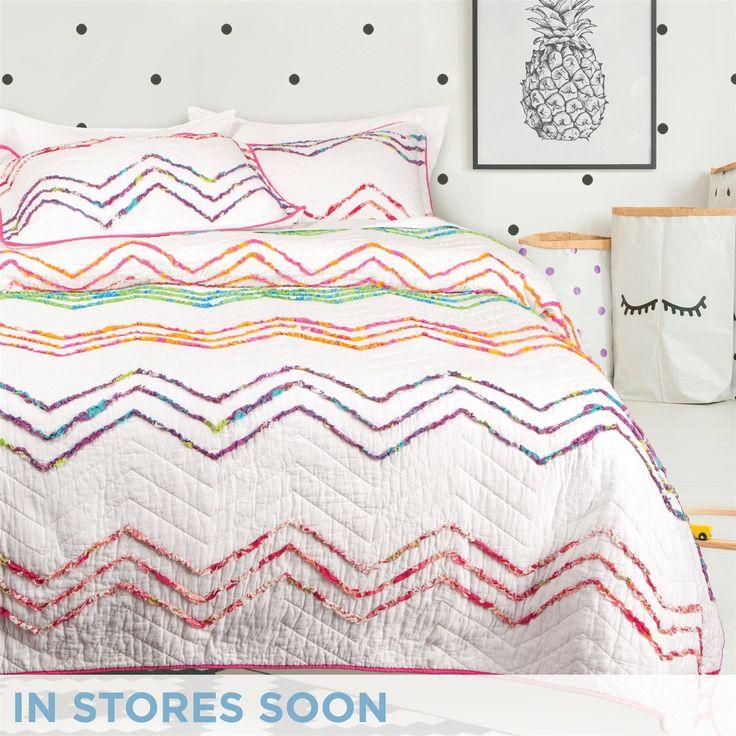 Sonia Cotton Coverlet Set | QE Home | colourful chevron ruffle quilt set