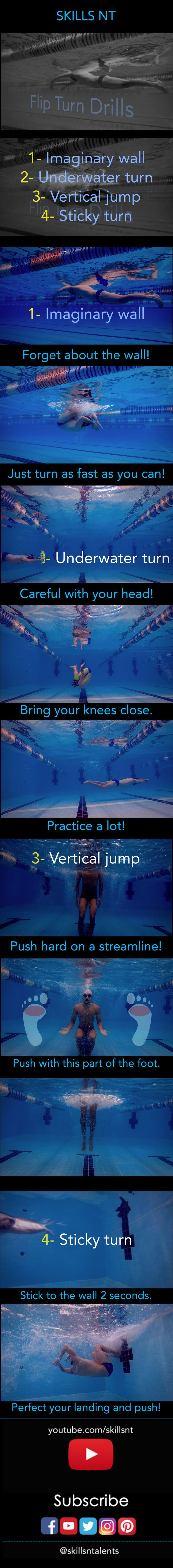 Flip turn drills! For full video tutorials click on the image or follow the link on the bio.