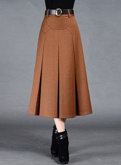 Brief Pleat Pure Color Skirt