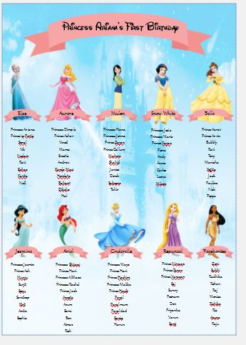 Disney character table plan.