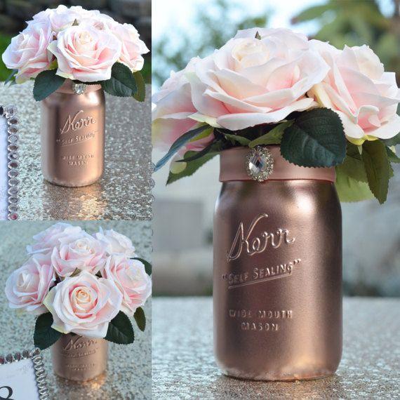 Mason jar wedding centerpiece rose gold with