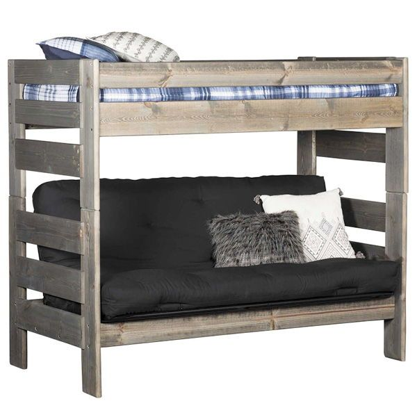 Cheyenne Driftwood Twin Over Twin Futon Bunk Bed With Images