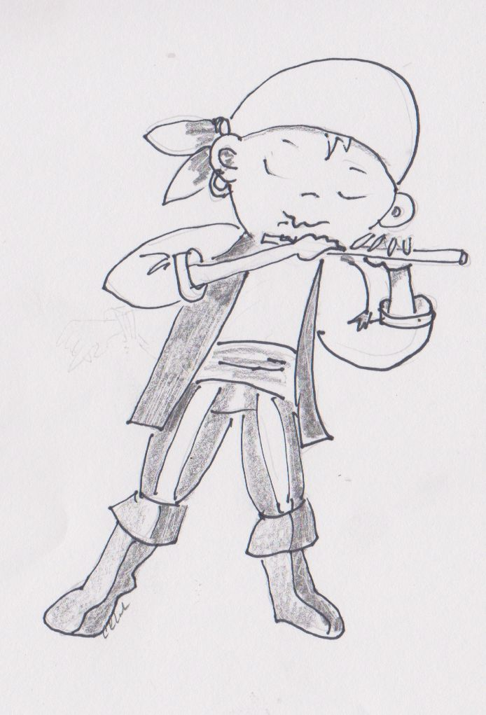 Happy Hornpipe Sailor whistling a jig. Pencil