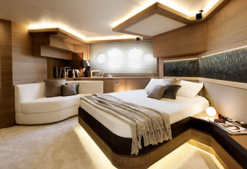 This is the master stateroom of the Monte Carlo Yachts 76 in the four-stateroom version. It is even bigger in the three-stateroom model.