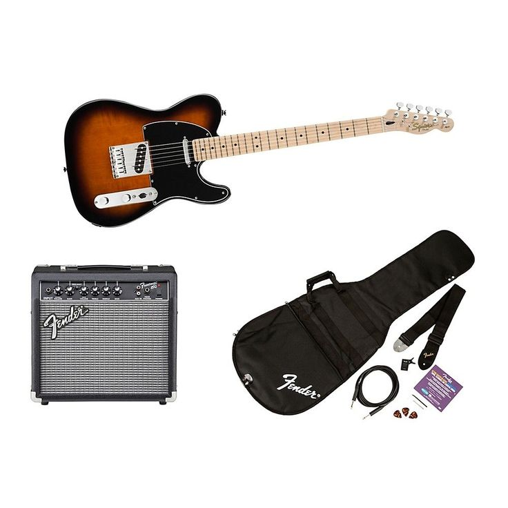 Squier Affinity Series Telecaster Electric Guitar Pack with 15G Amplifier Brown Sunburst