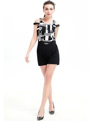 Black And White Geo Blocky Prints Cold Shoulder Office Lady Romper
