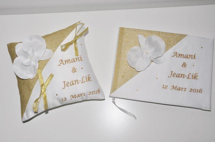 ensemble coussin+ livre d'or mariage porte-alliances personnalisé brodé or strass avec orchidée argentée : Autres accessoires par lbm-creation