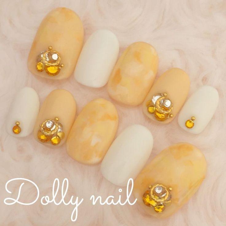 ショートオーバル*イエロー&オレンジの爽やかマーブルネイル - 愛されネイルチップのお店Dolly nail
