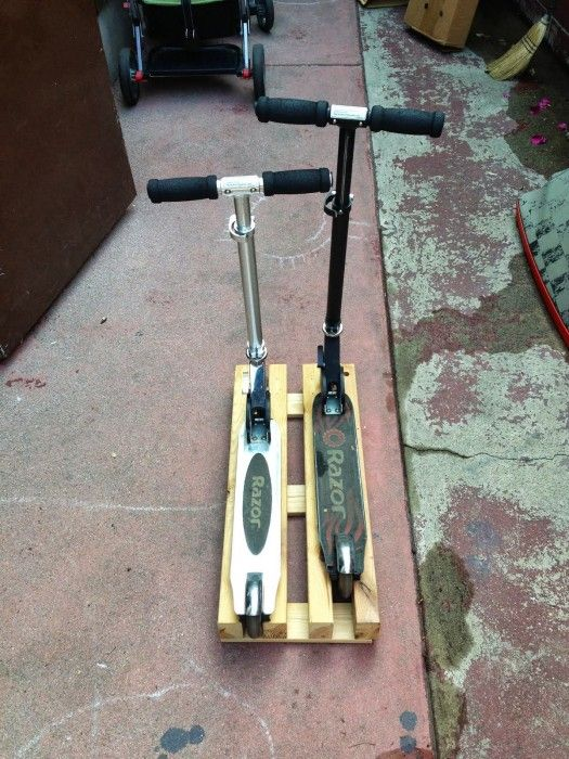Razor Scooter Stand from recycled IKEA bed frame (measurements avail. so scrap wood can be subbed as well)