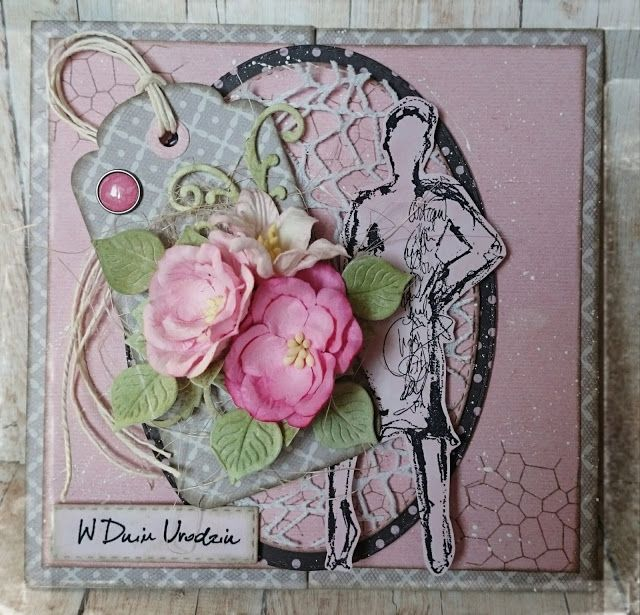 """Kartka urodzinowa dla kobiety na różowo :)   Papierowo Piątek13 """"Babski wieczór""""   Warstwowa z tagiem , tło z delikantym stemplem , oraz """"s..."""