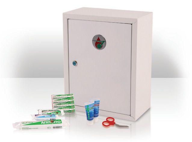 """Аптечка офисная - Аптечка """"Офисная"""" первой помощи """"АППОЛО"""" предназначена для оказания само- и взаимопомощи в офисах. Аптечка первой помощи """"Офисная"""" комплектуется в навесные шкафчики из ABS-пластика с защелкой (размер шкафчика 265 х 300 х 110 мм) и в металлический навесной шкафчик, запираемый на ключ (размер шкафчика 300х380х160 мм)."""