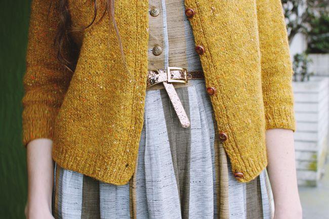 vintage dress + mustard cardigan