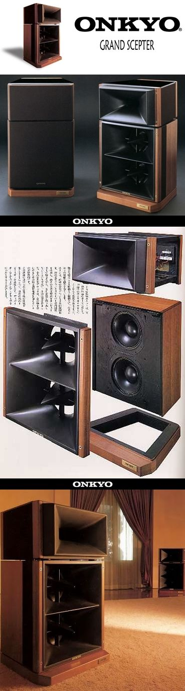 ONKYO Grand Scepter (1983). Designed by Hiroyuki Yoshii, the Grand Scepter was to be the most linear and coherent horn loudspeaker ever made.
