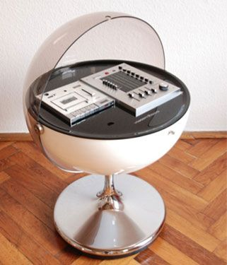 this Rosita UFO Vision 2000 hi-fi system is undoubtedly our favourite.    Designed out of West Germany in 1971 by Thilo Oerke, the design is pure space age - a globe holding the audio kit, with a chromed tulip-style stand for support. sadly, the audio doesn't quite live up to the design, a very 'of the era' cassette player and radio, although the futuristic controls and slide-up clear domed lid make up for it in some way.