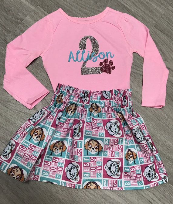Check out this adorable Paw Patrol outfit!! Please leave birthday age and name in notes to seller at checkout. Shirt can be made for 1st-6th birthday. Skirt sizes ❤12 months 14-15 waist, 7 1/2 length ❤️18 months 15-16 waist, 8 length ❤️2T 18-19 waist, 9 length ❤️3T approx 20-21 waist, 10 length ❤️4T approx 21-22 waist, 11 length ❤️5T approx 22-23 waist, 12 length ❤️6 23 waist 13 length  Look at my shop for other cute outfits at http://etsy.com/shop/clairescreations15