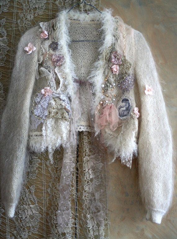 Cherry blossoms in the snow- shabby chic romantic feminine jacket with ornate laces and embroidery