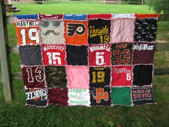 *This listing is for a custom made T-shirt rag quilt to be made from your t-shirts or other materials that you provide. You choose the size, only $5 per square. This quilt will be made from however many squares you want, each having an approximate finished size of 12 x 12 inches. The quilt