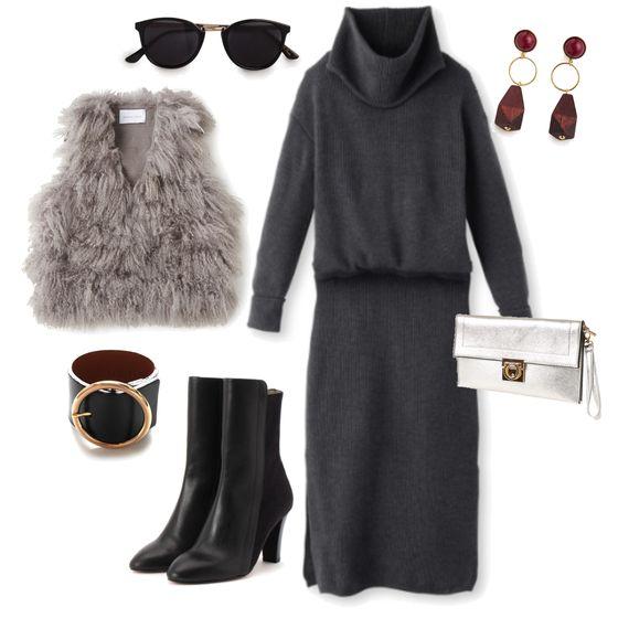 モノトーンコーデ stylist:yuko ponte/outfits/fashion/black/far vest/clutch bag