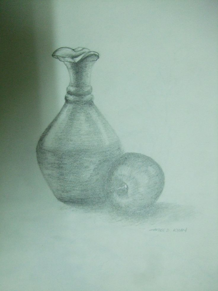 Live sketch - Object Drawing - Using 2B & 4B pencils on 100 gsm sketch book paper- 2012 - Broken pot with an Apple