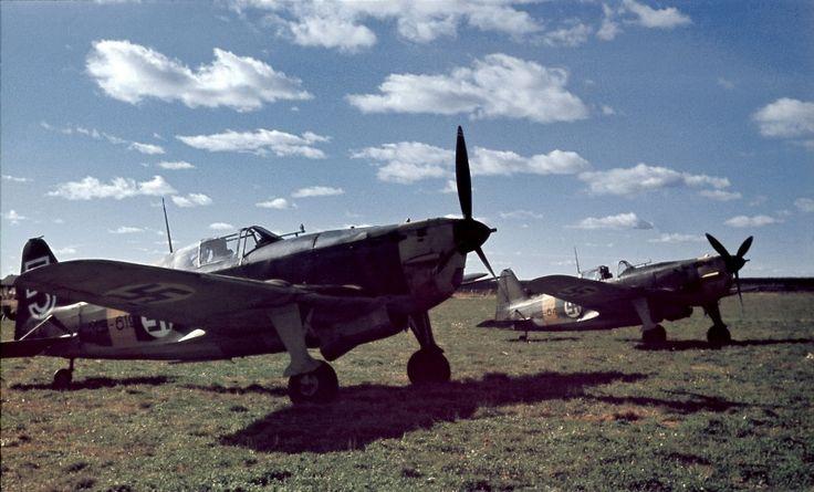 Finnish fighter Moran-Saulnier Ms.406 at the airport Latva