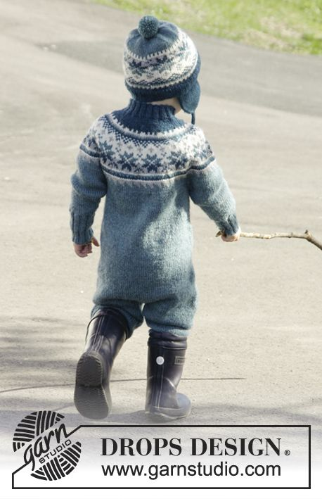 Set of knitted overall worked top down with Nordic pattern and round yoke, plus hat with ear flaps and pompom in DROPS Karisma. Size children 1 - 6 years