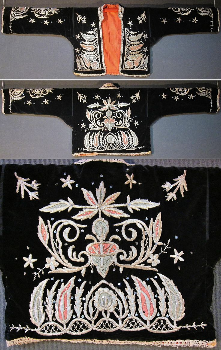 Front and rear of a traditional festive 'cepken' (long-sleeved vest) for women.  From the Keles-Dursunbey area (southern Bursa & southeastern Balıkesir provinces), ca. mid-20th century.  Black velvet, adorned with cotton patchwork, silvery metal thread embroidery (in 'sarma' / 'Maraş işi'-technique), small silvery spirals and metal sequins.  (Inv.n° cep054 - Kavak Costume Collection - Antwerpen/Belgium).