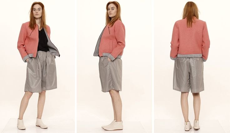 Dori Tomcsanyi mallow, neoprene bomber jacket with windbreaker shorts, gathered at waist, with jersey lining.  Available from September at the webshop. http://doritomcsanyi.com/