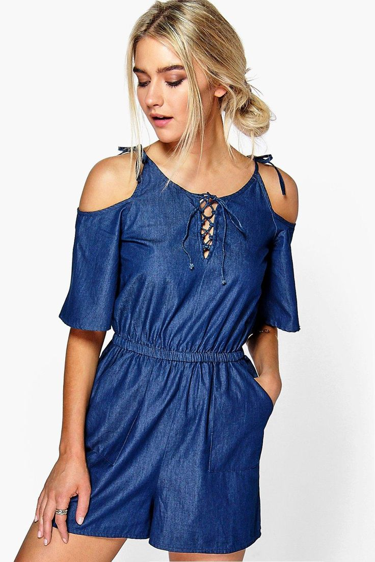 Sophie Open Shoulder Denim Playsuit