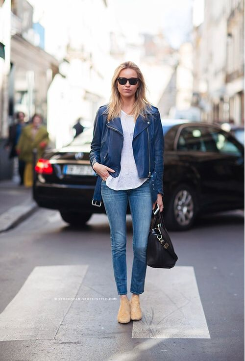 Blue leather jacket and jeans