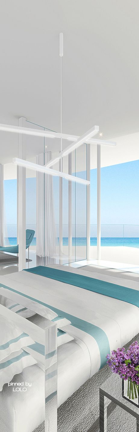 Stunning bedroom with beach views by Jennifer Post Design | LOLO
