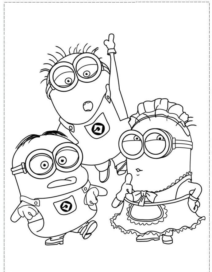 The Minion Character Girl And Boy Coloring Pages
