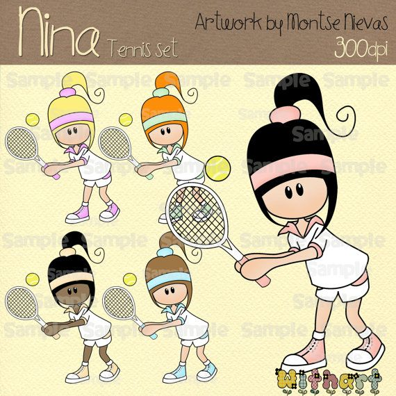 Tennis Nina dolls (0241) digital clip art set images for scrapbooking card making iron transfers jewelry printable crafts