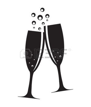 champagne toast: Two Glasses of Champagne Silhouette Vector Illustration