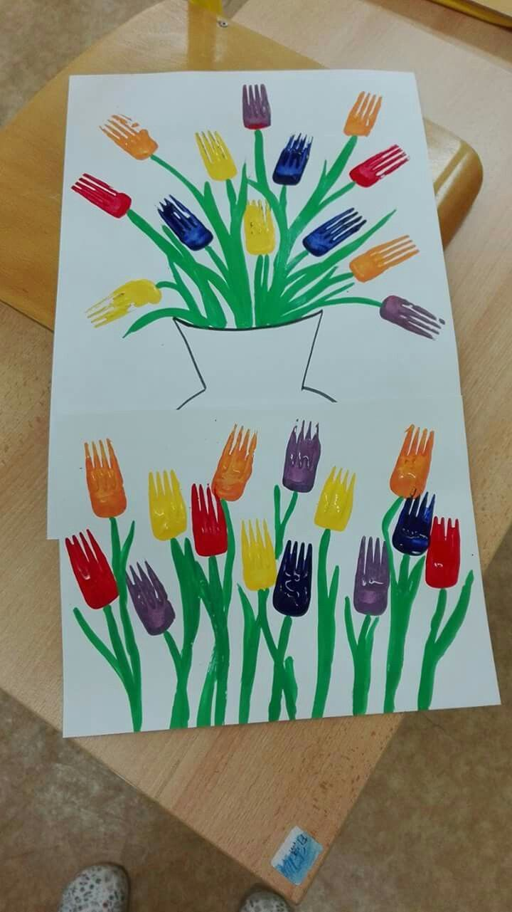 Fork print tulips | kinder art | intro to printmaking | flower art | kinder art lessons