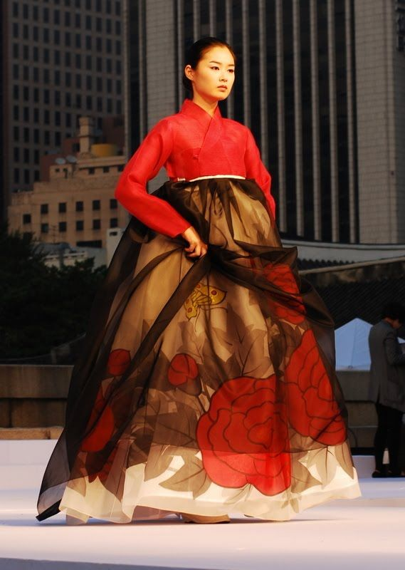 Hanbok Fashion Show in Seoul | Photo by Ryan Combination of layers sheer + patterned fabric
